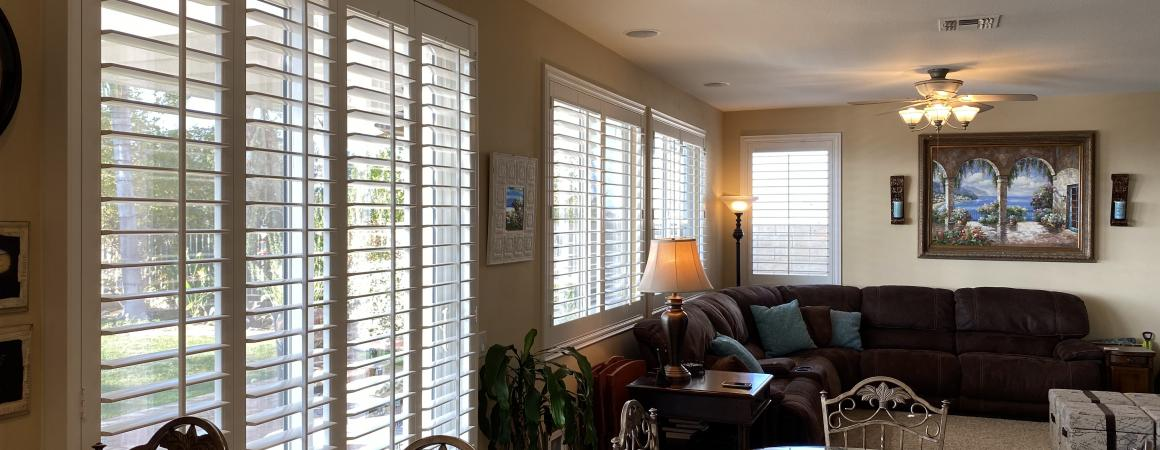 Shutters on sliding glass door