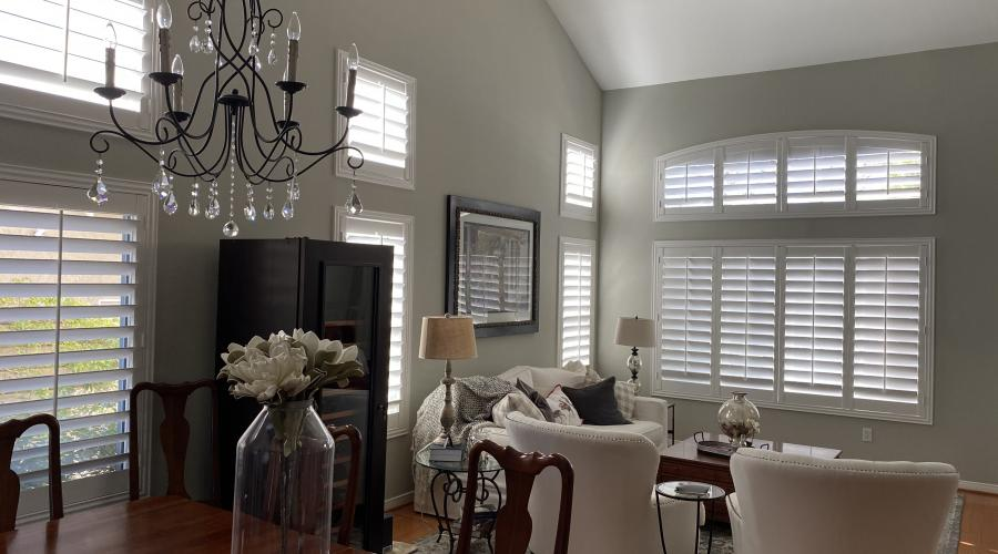 Arch shutters with deco frames