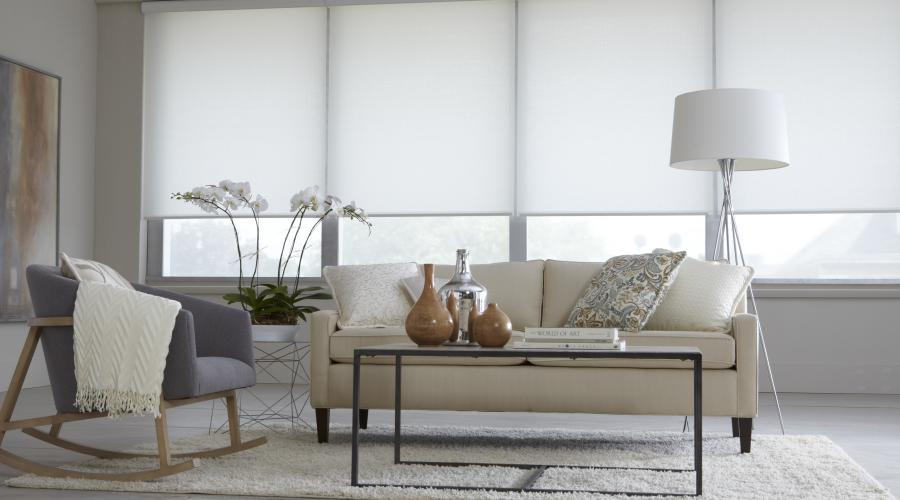 Roller Shades with Cassette Headrails